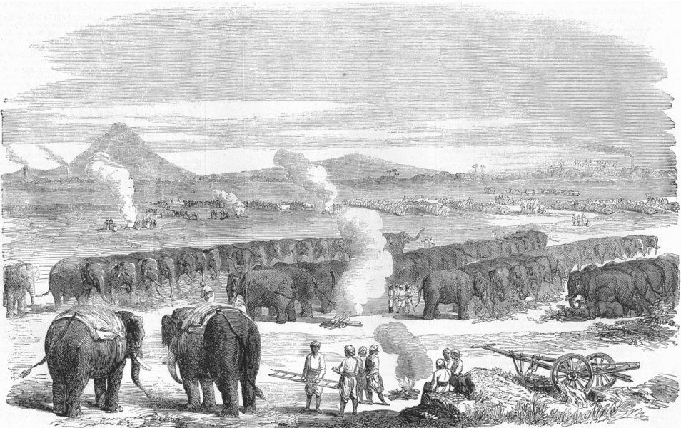 Associate Product INDIA. Mutiny. Elephant Camp, Raneegunge, antique print, 1858