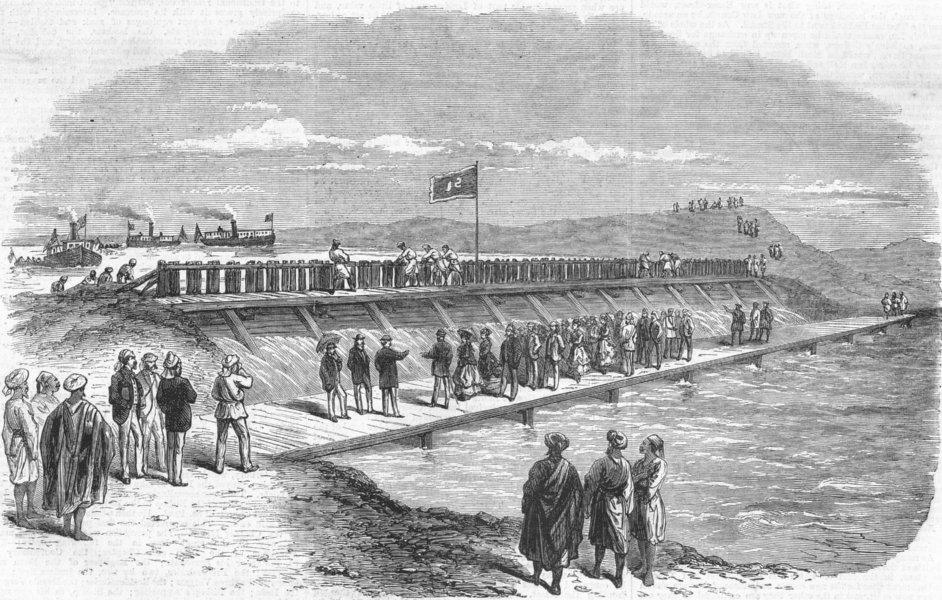Associate Product EGYPT. Suez. Sluice between Mediterranean, Lakes, antique print, 1869