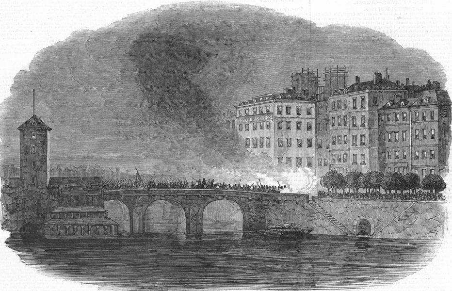 Associate Product PARIS. Cannonade, Rue St Jacques-from Pont Au Change, antique print, 1848