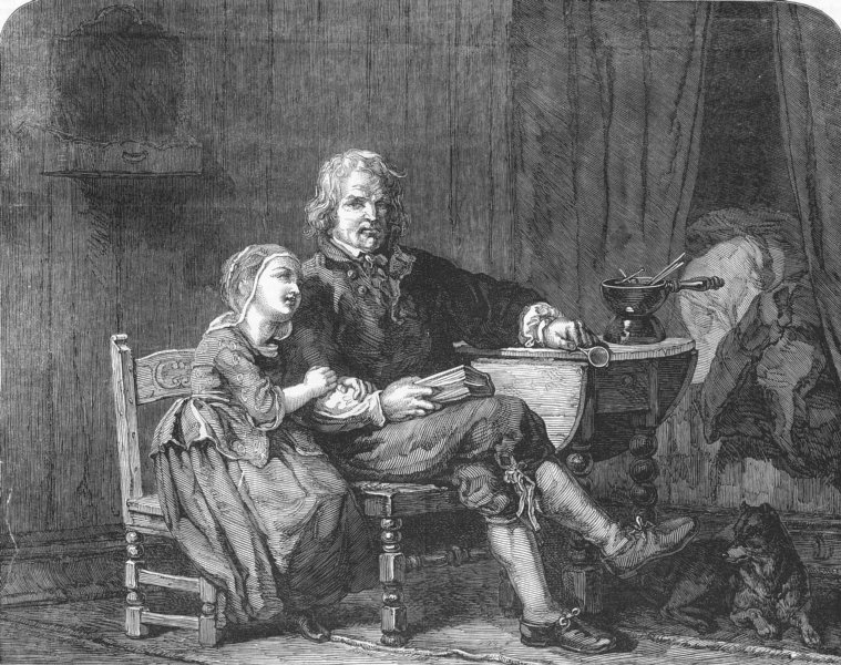 Associate Product FAMILY. The happy old man, antique print, 1852