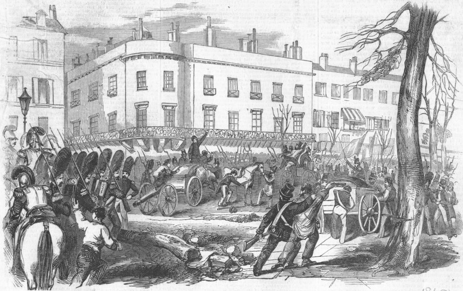 Associate Product FRANCE. Seizure of artillery, Italian Boulevards, antique print, 1848