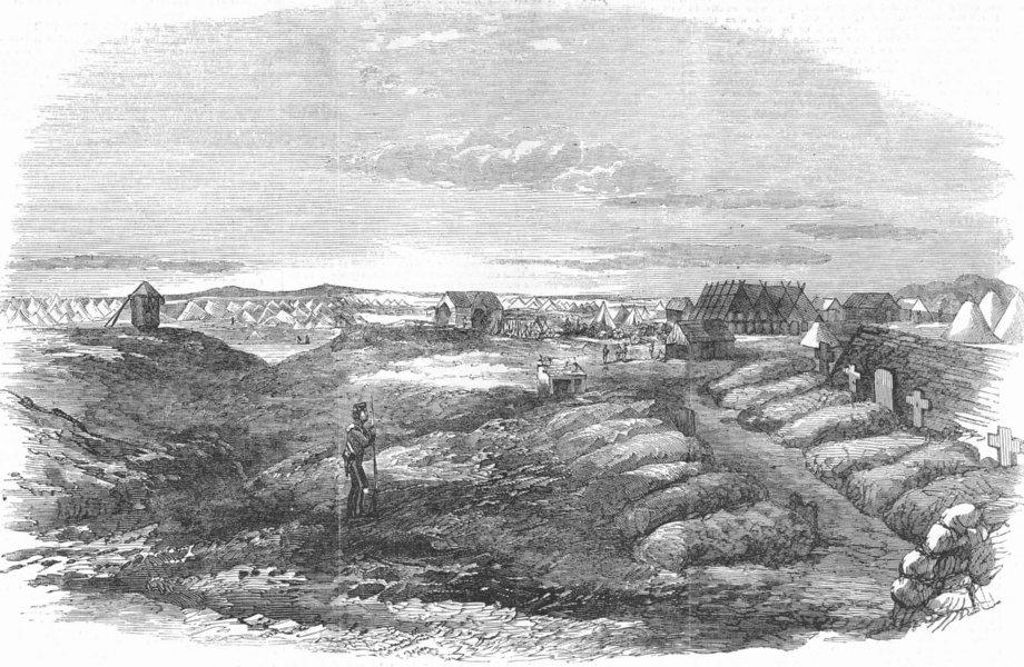Associate Product UKRAINE. Crimean War. Inkerman Hill, antique print, 1855