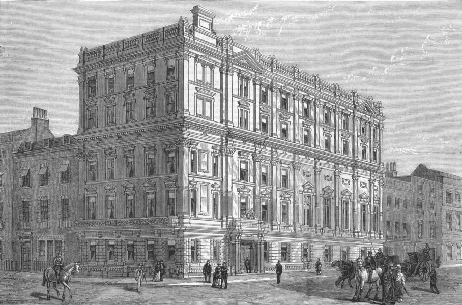 Associate Product LONDON. Hanover Sq Club house(Cercle Des Nations), antique print, 1876