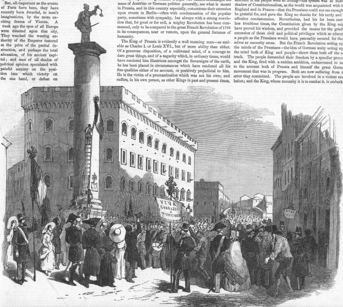 ITALY. Demo, Florence, favour of new ministry, antique print, 1848