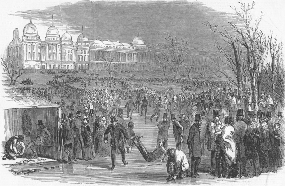 Associate Product LONDON. Skating in the Regent's-Park, antique print, 1850