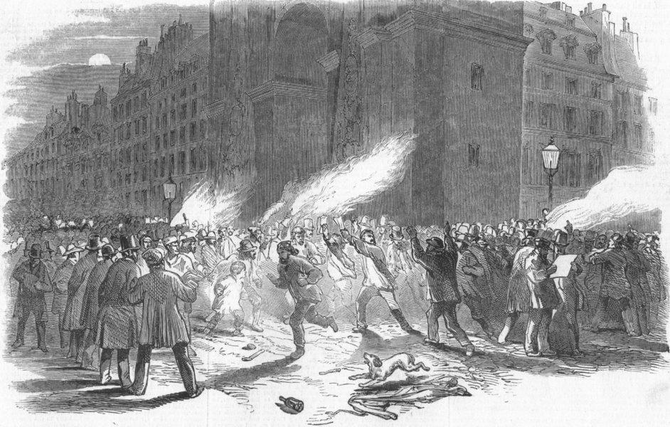 Associate Product PARIS. Burning of electoral lists, Porte St Denis, antique print, 1848