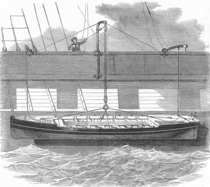 Associate Product SHIPS. Landells' safety boat sling, antique print, 1852