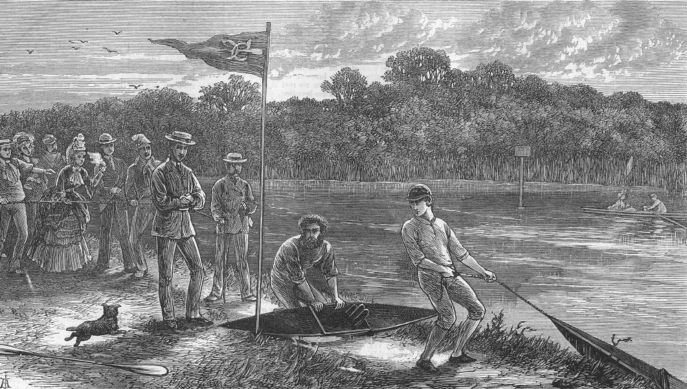 Associate Product LONDON. Canoe race at Hampton, antique print, 1871