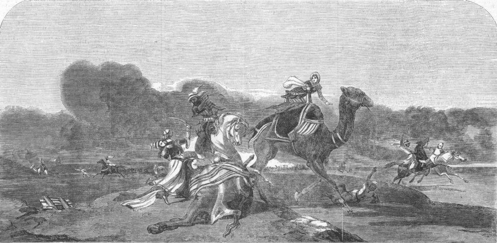 Associate Product MILITARIA. Arabs attacking a Caravan, antique print, 1852