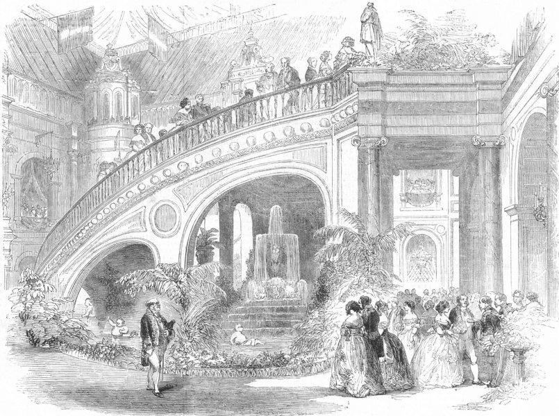 Associate Product FRANCE. Paris Expo. stairs, hotel De Ville, Paris, antique print, 1855