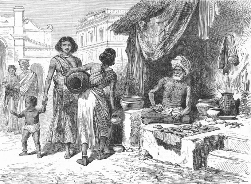 Associate Product INDIA. Prince of Wales. Bazaar, Chennai, antique print, 1875