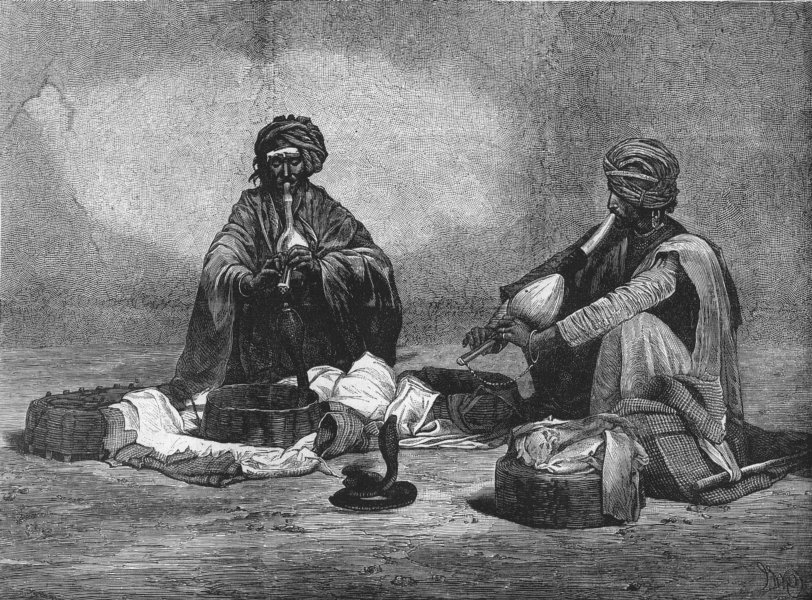 Associate Product INDIA. Prince of Wales. Snake Charmers, antique print, 1875