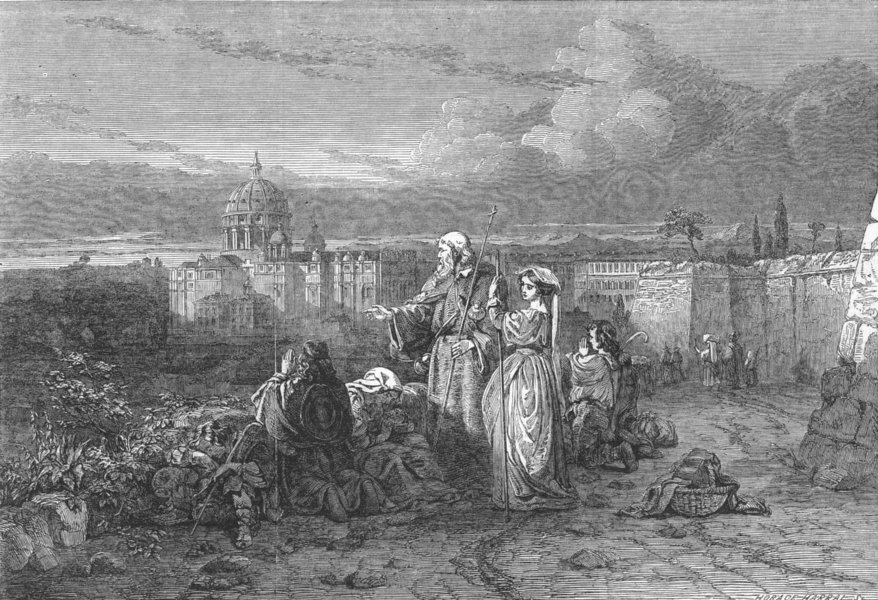 Associate Product ITALY. No 59-pilgrims, sight of St Peter's, Rome, antique print, 1850