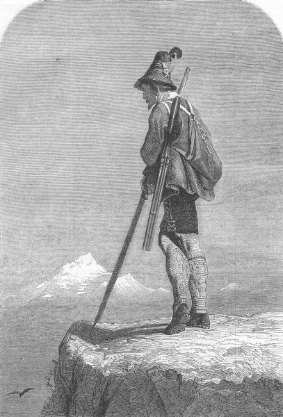 Associate Product HUNTING. A Tyrolese Chamois hunter, antique print, 1851