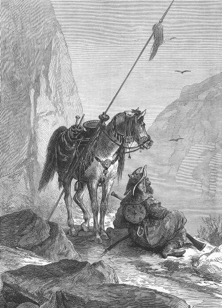 Associate Product RUSSIA. Defender of Zarovschansky Mountains, antique print, 1875
