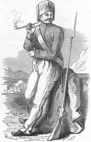 MILITARIA. Turkish Soldier, antique print, 1853
