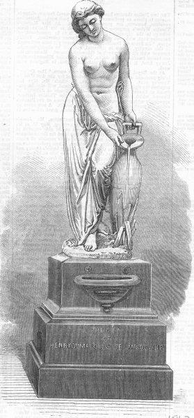 Associate Product BUILDINGS. Fountain, Berkeley Sq, Munro, Sculptor, antique print, 1867