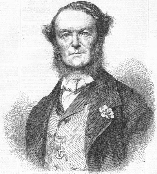 Associate Product CROATIA. Adm Persano, Commander of Italian fleet, Vis, antique print, 1867