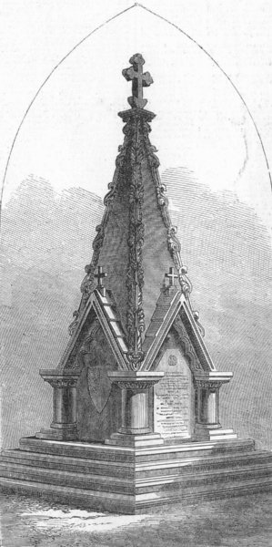 Associate Product SURAT. Monument, built by 56th Regt to comrades, antique print, 1867