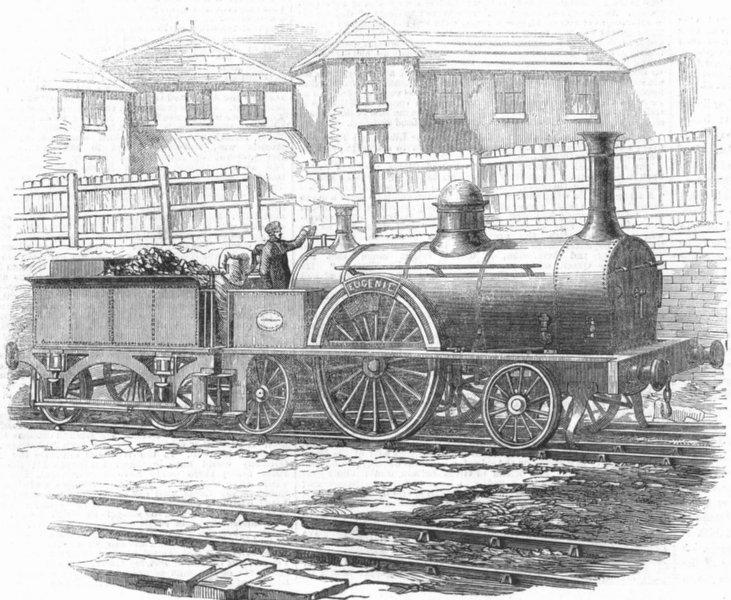 Associate Product TRAINS. M'Connell's Express locomotive engine, antique print, 1855