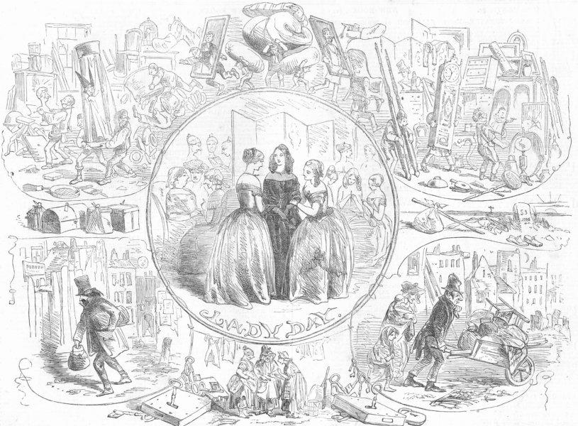 Associate Product CHILDREN. Lady day, antique print, 1853