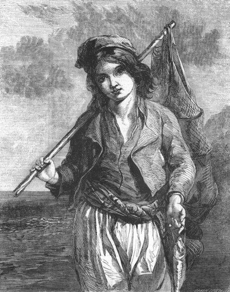 Associate Product CHILDREN. A Neapolitan fisher-boy, antique print, 1855