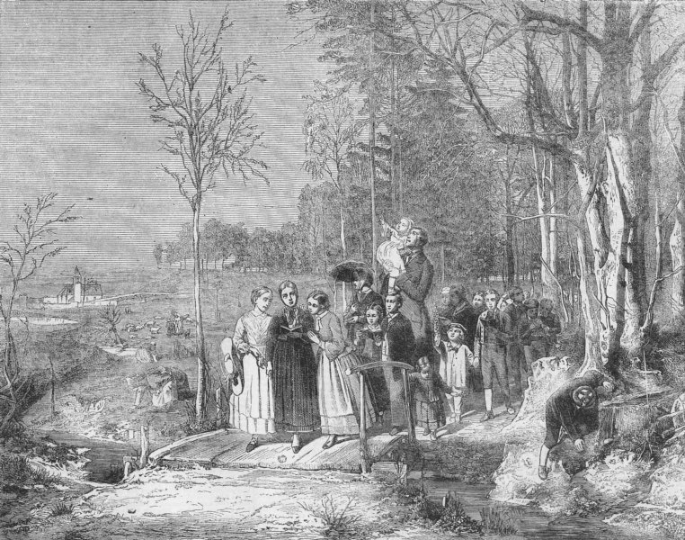 Associate Product FAMILY. Morning walk in spring, antique print, 1860