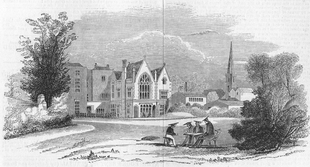 GLOS. Gloucester College School, antique print, 1844