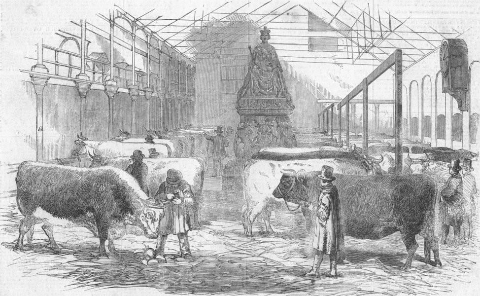 Associate Product LONDON. Smithfield Yd, antique print, 1852
