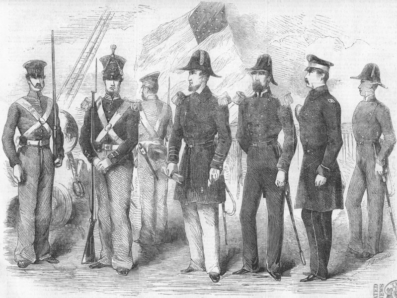 Associate Product USA. Officers & Marines of ship Susquehanna, antique print, 1857
