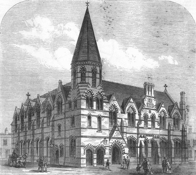 Associate Product POPLAR. St Saviour's school, Northumberland_St, antique print, 1867