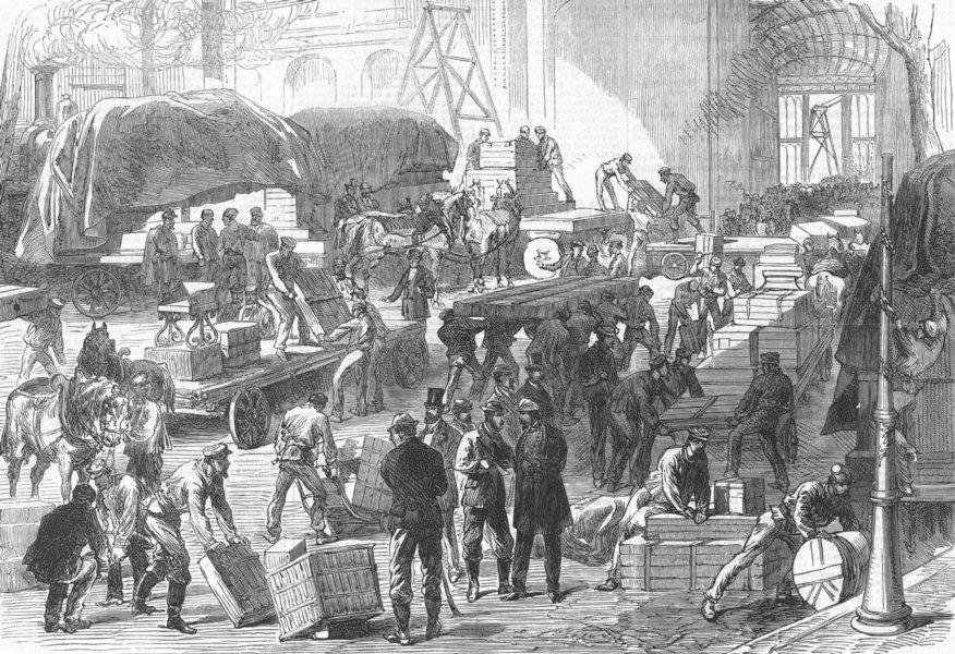 Associate Product FRANCE. Receiving goods, antique print, 1867