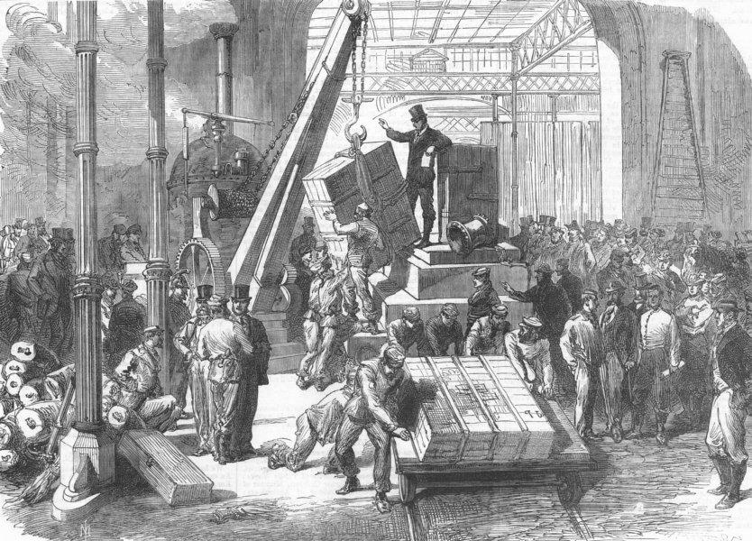 Associate Product FRANCE. Locomotive crane, work, antique print, 1867