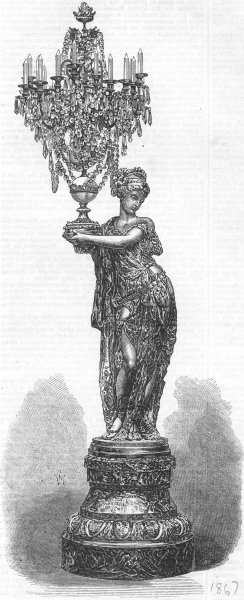 Associate Product DECORATIVE. Figure holding candelabrum, by, Viot, antique print, 1867