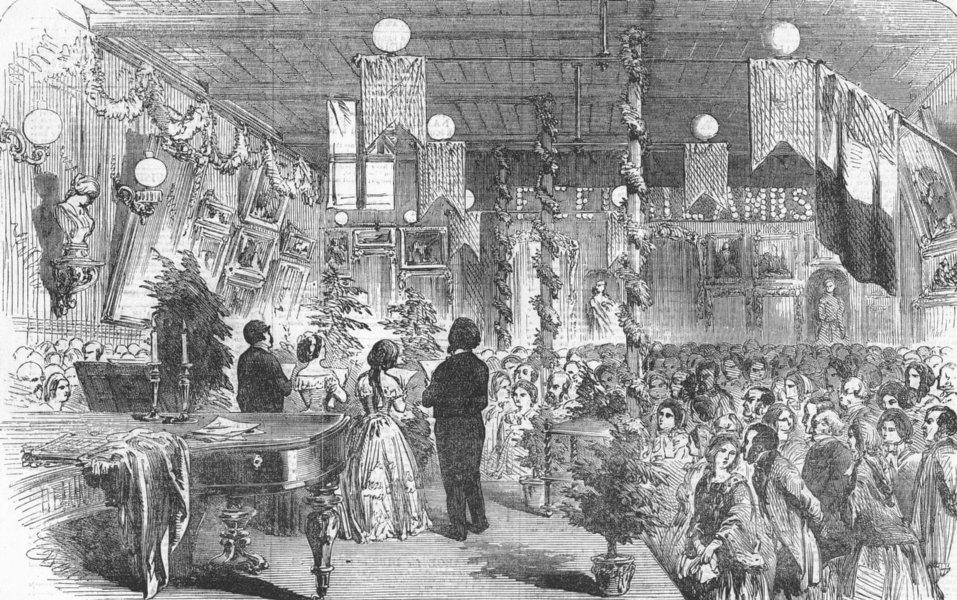 Associate Product LONDON. Soiree for St Leonard(Shoreditch)school, antique print, 1855