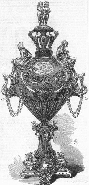 Associate Product MUMBAI. Centrepiece of service plate for merchant, antique print, 1867