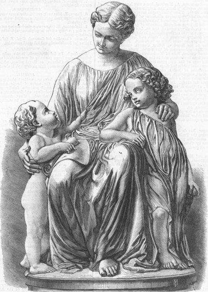 Associate Product DECORATIVE. Group, marble, La Mere, antique print, 1867