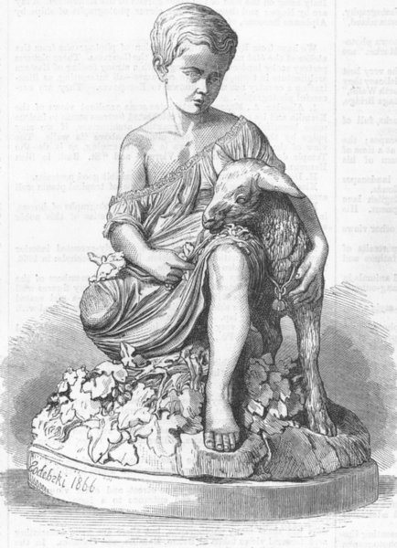 Associate Product CHILDREN. Child with goat, antique print, 1867
