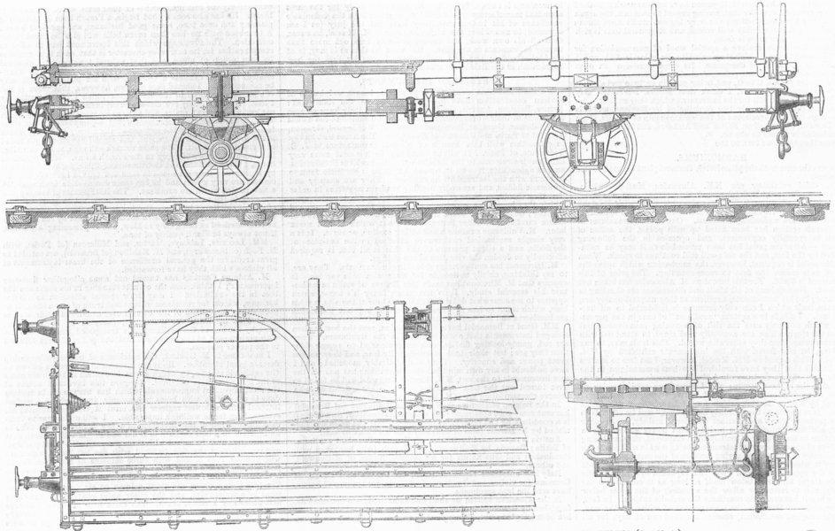 Associate Product TRAINS. Vidard articulated truck, long loads, curves, antique print, 1867
