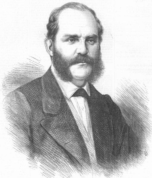 Associate Product SPAIN. Revolution. Adm Topete, antique print, 1868
