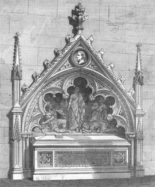 Associate Product KOLKATA. Monument to Col Baird Smith, Cathedral, antique print, 1867