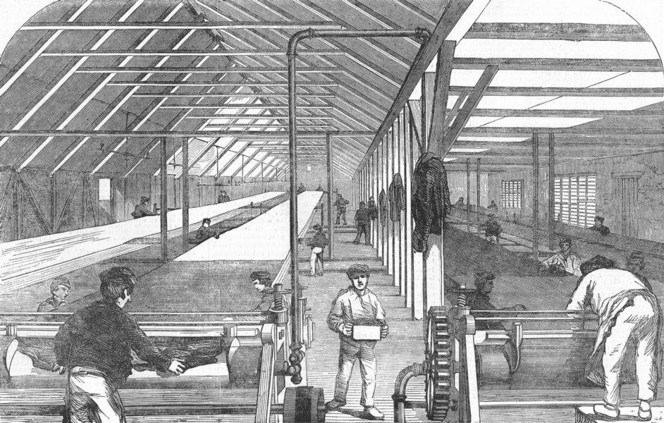 Associate Product STEPNEY. Indiarubber waterproof works, farm House, antique print, 1855