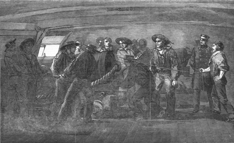 Associate Product SHIPS. Gunnery practice-Firing-St Jean D'Acre, antique print, 1854