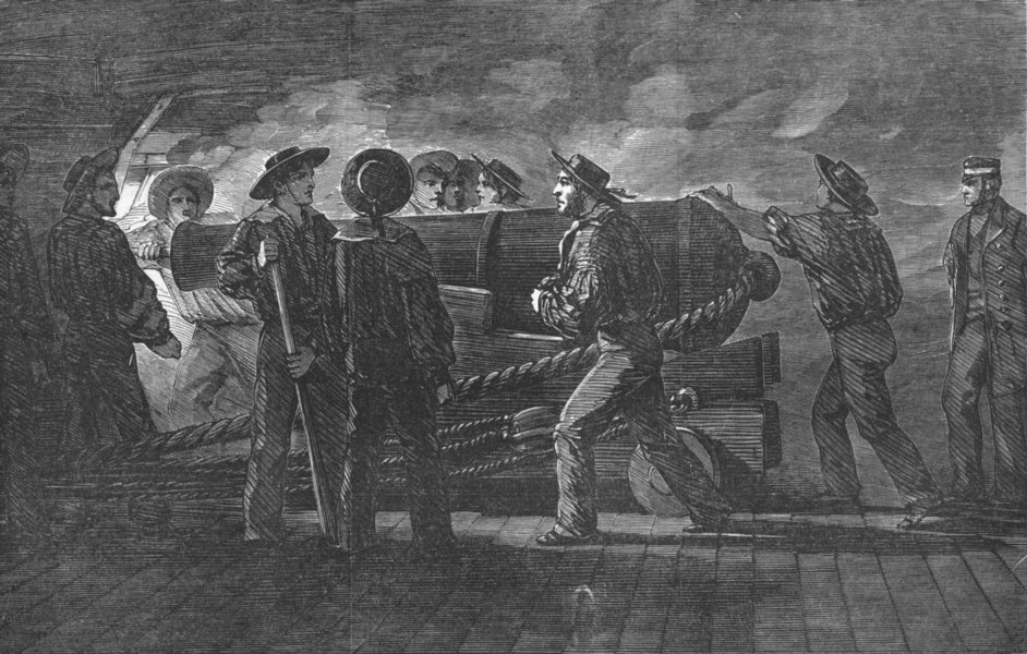 Associate Product SHIPS. Gunnery practice-loading-St Jean D'Acre, antique print, 1854