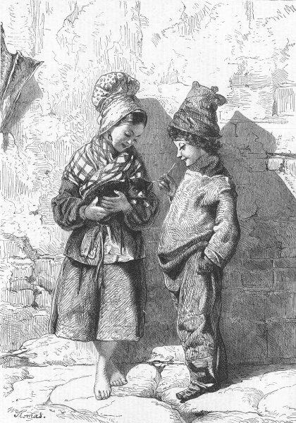 Associate Product CHILDREN. Le Petit Minet, antique print, 1865