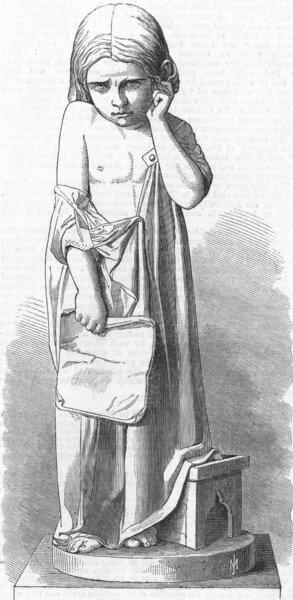 Associate Product CHILDREN. Difficult lesson, marble statue, antique print, 1865