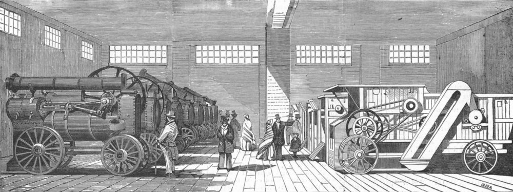 Associate Product SMITHFIELD. Steam-engines & thrashing-machines, antique print, 1854
