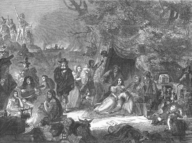 Associate Product HIGHGATE. Fine arts. fields during Gt fire of, 1666, antique print, 1848