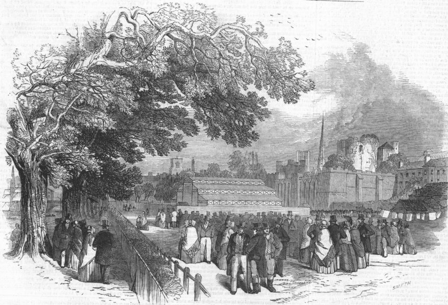 YORKS. Royal farmers mtg, York-dinner pavilion, antique print, 1848