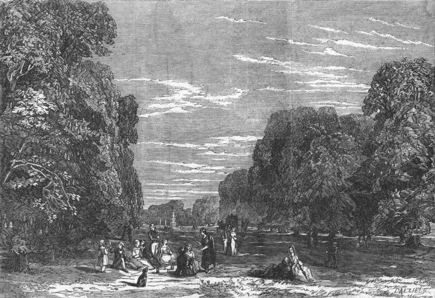 Associate Product LONDON. Picnic in Bushy Park, antique print, 1848